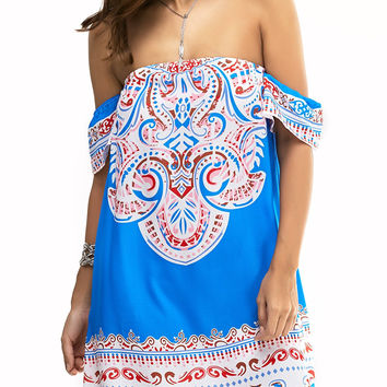Multicolor Flounce Printing Off The Shoulder Dress