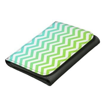 Blue And Green Gradient Chevron Pattern Wallets