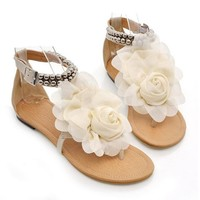 Sweet Women's Sandals With Flower and Beading Design (OFF-WHITE,39) | Sammydress.com Mobile