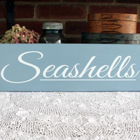 Seashells Beach Wood Sign Beach Cottage Handcrafted Wall Decor