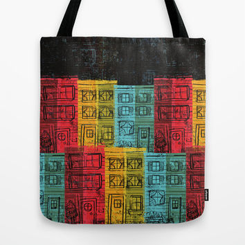 Rows of Houses Tote Bag by Pixel Pop