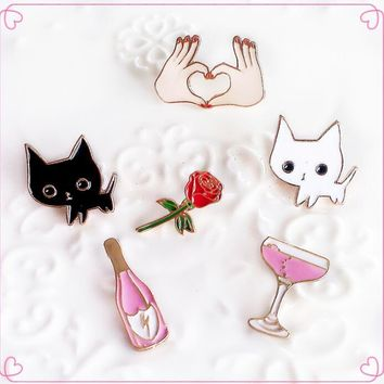 Lovely Animal Cartoon Cat Kitty Enamel Pins Cocktail Wine Brooch Rose Flower Brooches