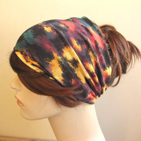 Black Rainbow Turban, Head Wrap, Wide Hair Turband, Headwrap Headband, Women's Hair Accessories, Stretch Yoga Headband