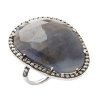 Shawn Warren Labradorite Diamond Gold Cocktail Ring