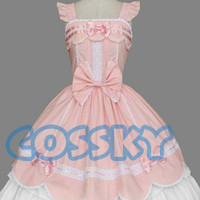 Gothic Lolita Sleeveless Pink and White Dress Costume GL061