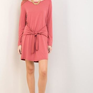 Marsala Long Sleeve Waist Tie Dress (final sale)