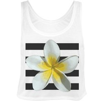 Tropical Flower Stripe: Custom Bella Flowy Boxy Lightweight Crop Top Tank Top - Customized Girl