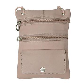 Genuine Leather Multi-Pocket Crossbody Purse Bag - Pink
