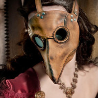 Plague Doctor's mask in brownish tan leather Classic by TomBanwell