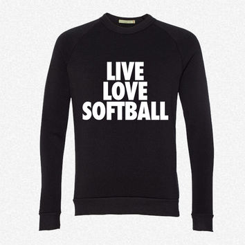 Live Love Softball fleece crewneck sweatshirt