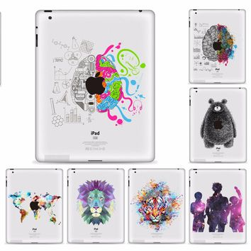 """YCSTICKER - Tablet Partial Sticker Vinyl Decal left&Right Brain Painting Protective Skin For iPad Mini 123 Mini4 Mini5 7.9"""""""