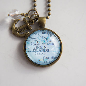 Map of US Virgin Islands Necklace - Custom Jewelry - Travel St John St Thomas Carribean Map Vacation Pendant Souvenir Gift For Women Island
