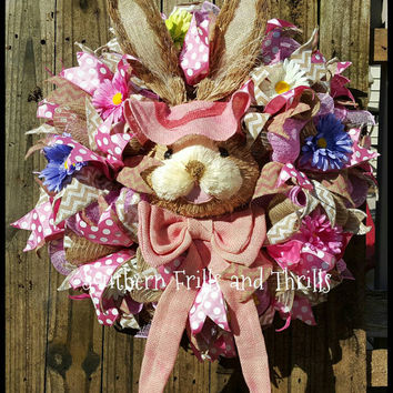 Easter Wreath, Easter Deco Mesh Wreath, Bunny Wreath, Spring Wreath, Deco Mesh Wreath, Burlap Wreath, Easter Decor, Mesh Wreath,  Easter