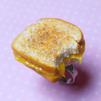 Grilled Cheese Sandwich Ring, Polymer Clay, Miniature Food, Food Jewelry, Statement Ring,
