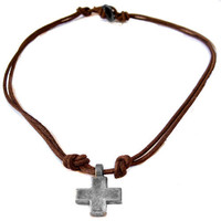 Unisex Lucky Cross Leather Mens Necklace