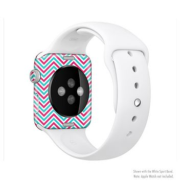 The Blue & Pink Sharp Chevron Pattern Full-Body Skin Set for the Apple Watch