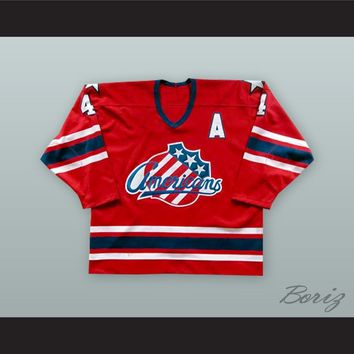 Rory Fitzpatrick 4 Rochester Americans Red Hockey Jersey