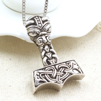 Ancient Greek Mythology Thor 2 The Dark World Hammer Pendant Necklace Gothic Punk Vintage Vikings Statement Necklace For Mens