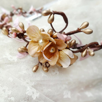 bridal headpiece gold pink flower circlet bridal by thehoneycomb