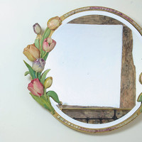 Vintage Home - Stunning Rare 1930s Tulips Barbola Mirror.