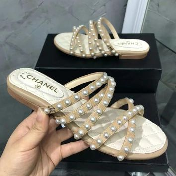 Chanel Women Leather Sandals Low Heels Shoes