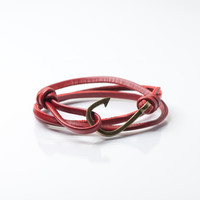 Men's Bronze Hook Leather Bracelet (Dark Red)