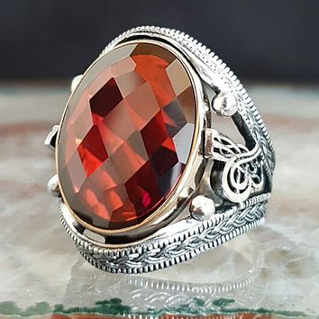 Red zirconia gemstone with calligraphy 925k sterling silver mens ring