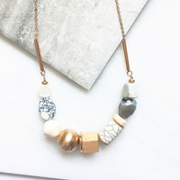 Natural Stone & Wooden Beaded Statement Necklace