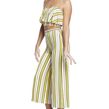 Banana Striped High Waist Front Pleating Pants