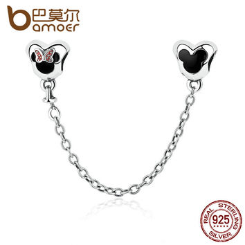 BAMOER Genuine 925 Sterling Silver Minnie Mouse Safety Chain Stopper Charms fit Bracelets for Women Jewelry PAS357
