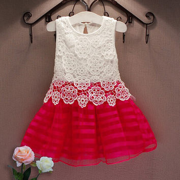 Fashion Girls Dresses Summer 2016 Kids Party For Girl 2-6Y Crochet Lace Tutu Princess Dress Toddler Children Clothes Costume