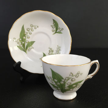 Royal Vale bone china cup & saucer A7 Ridgway Potteries LTD 1950's lily of the valley