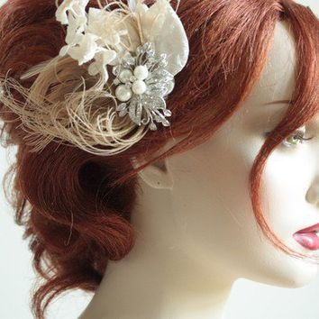 IDA Vintage velvet Bridal Millinery hair flower by bridalcouture