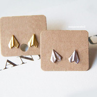 Tiny Paper Plane Stud Post, Stud Post Earrings, Elegant Earrings, Studs, Posts, Triangle Jewelry, Necklace,Minimal,HipsterTiny Pendant Studs