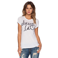 White Always Late Print Graphic Tee