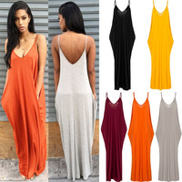 Soft Milk Fiber Sleeveless Pocket Dress Women Sexy V Neck Backless Sun Dress Lady's Beach Boho Long Dress