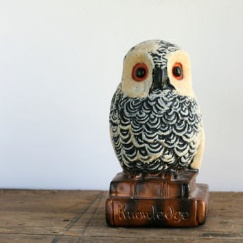 Vintage Owl Bookend with Knowledge Inscribed on Base - Knowledge Owl Bookend