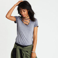 AEO Soft & Sexy Lace-Up T-Shirt, Lead