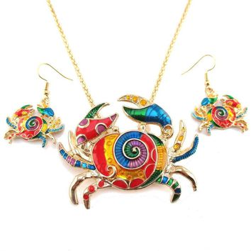 Colorful Enamel Crab Shaped Dangle Earrings and Necklace 2 Piece Set in Gold