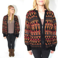 SALE 25% OFF.  1950s-60s Tribal Patterned Metal Zip-up Wool Cardigan. Size Medium.