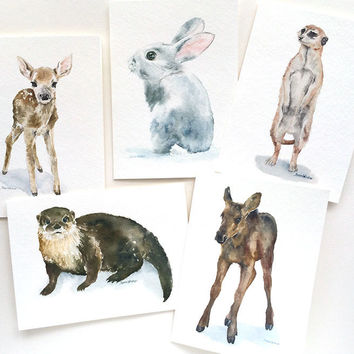 Woodland Animal Watercolor Painting Greeting Card Set4