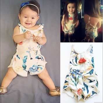 Fancy Floral Romper with Crocheted Detailing
