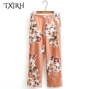 TXJRH Retro Floral Pattern Loose Straight Pants Trousers High Waist Casual OL Capris Calf-Length Pants Fashion Women K17-02-46