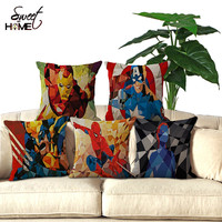 "Cotton Linen Square 18"" Geometric Superhero Pattern Decorative Throw Pillow Cover"