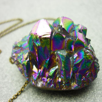 ICEBERG - Titanium Quartz Rainbow Crystal Druzy Geode Necklace