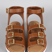 Bamboo Multi-Buckle Strap Wedge Sandal
