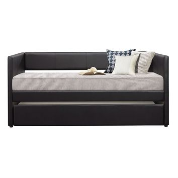 Twin size Black Faux Leather Upholstered Daybed with Pull Out Trundle