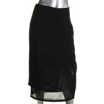 DKNY Womens Sheer Front Slit A-Line Skirt