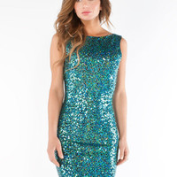 Turquoise Scoop Back Sequin Tank Dress  Sexy Dresses