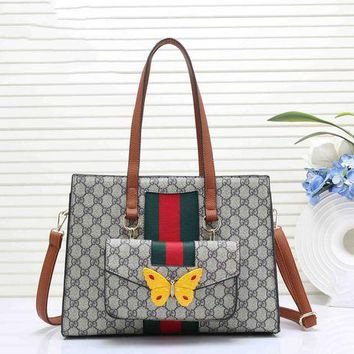 DCCKR2 Gucci Stylish Ladies Leather Butterfly Tote Handbag Zipper Shoulder Bag Set Two Piece Brown I-RF-PJ